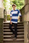 Sewn stripe short sleeve rugby shirt